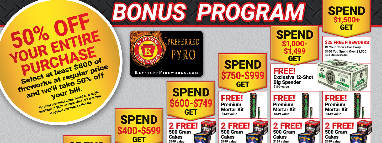 GET FREE FIREWORKS WITH OUR BONUS PROGRAM