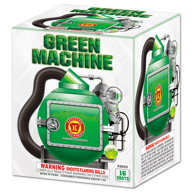 Green Machine, Keystone Fireworks, Pennsylvania, 200 Gram Cake