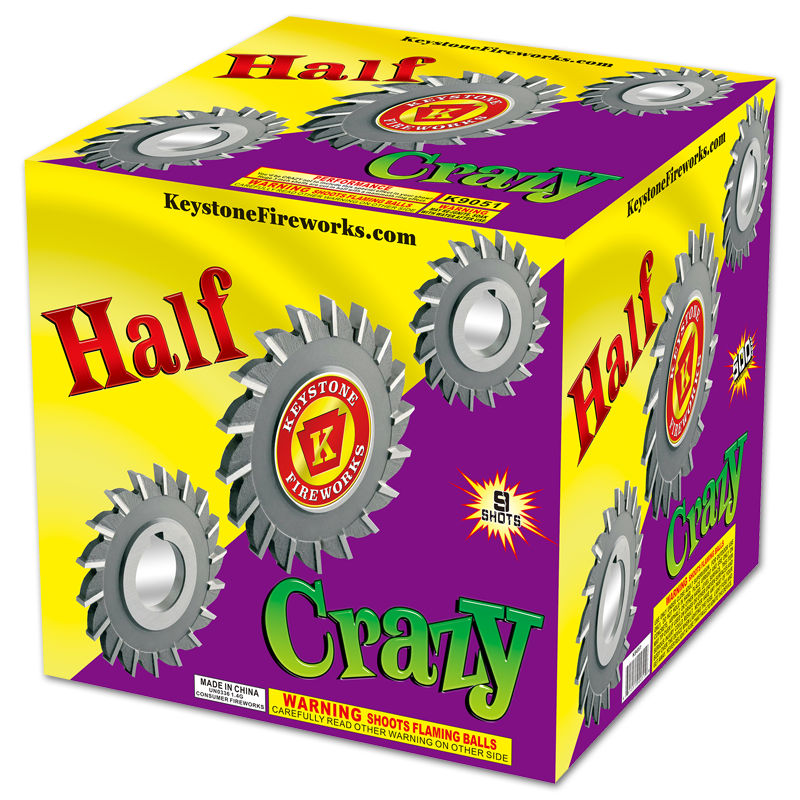 Half Crazy, Keystone Fireworks, Pennsylvania, 500 Gram Cake